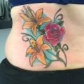 colour rose and lilies tattoo
