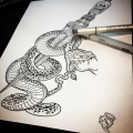 Snake and Dagger Tattoo Design