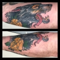 Old School Wolf Tattoo