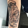 Lion and lioness realism tattoo