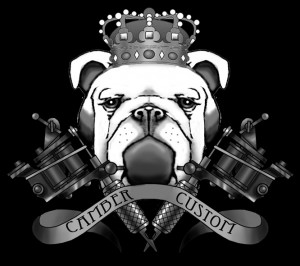 camber custom black bulldog sticker