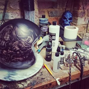Custom Paint Helmet in Progress by Iaint Nosaint