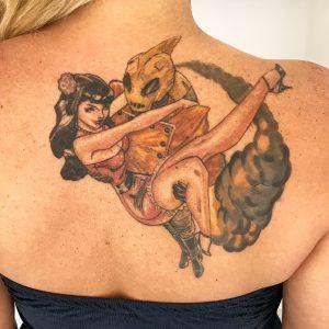 Healed Rocketman Cover Up Tattoo by Iaint Nosaint at I Ain't No Saint Tattoo Studio, Abbots Langley, Hertfordshire