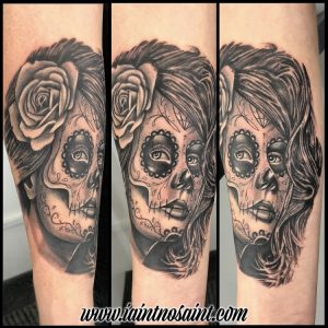 Realistic Day Of The Dead Woman Tattoo By Artist Iain Nosaint
